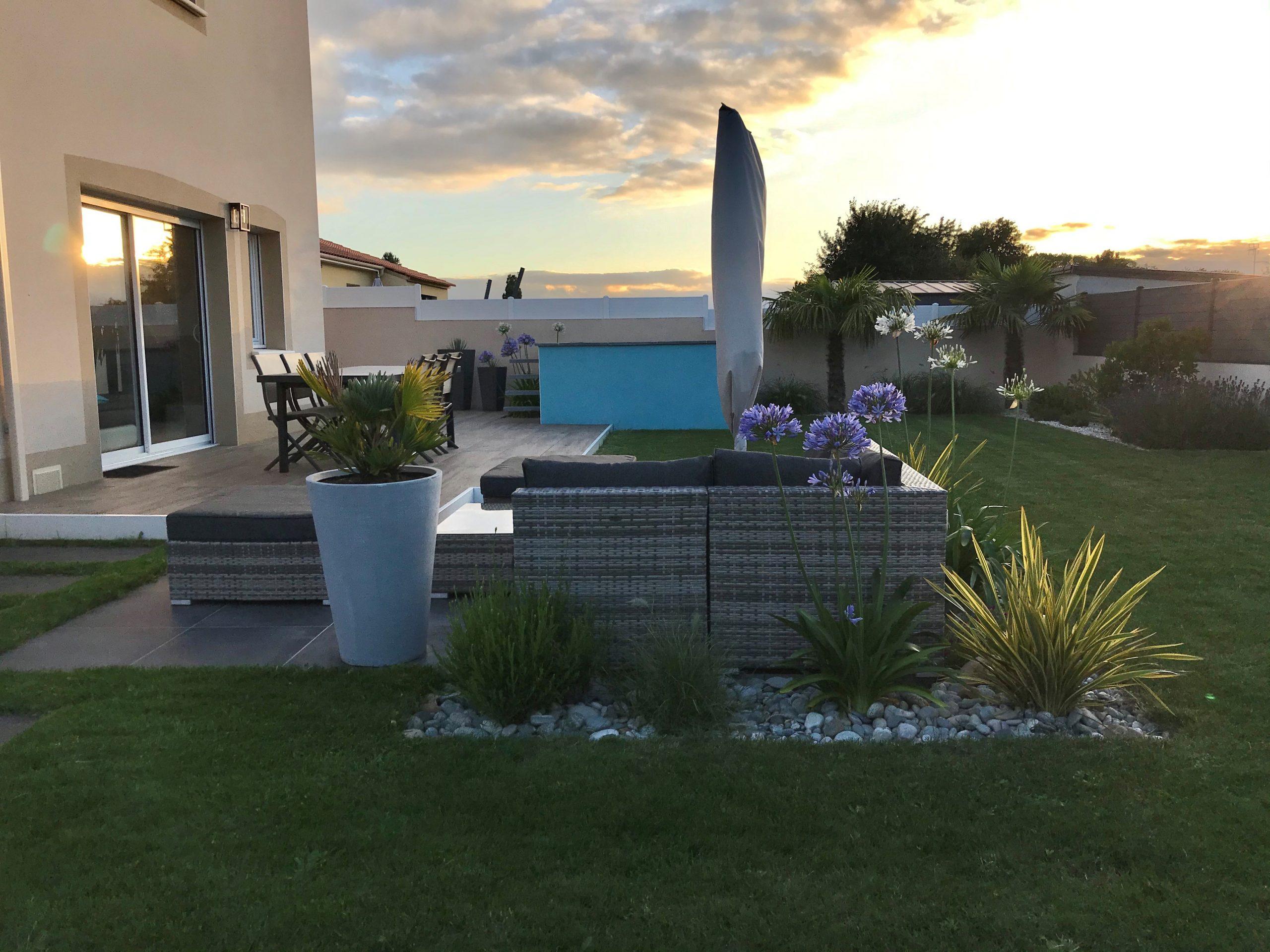 Aménagement jardin au couché de soleil Obojardin