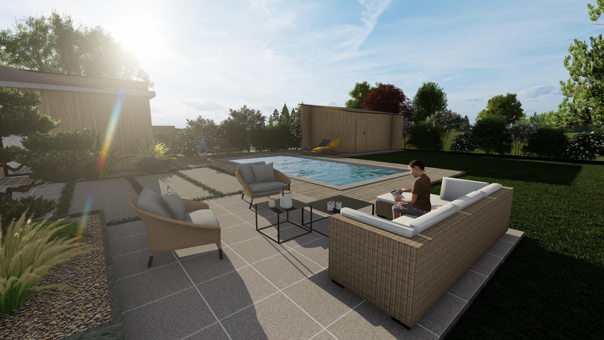 piscine en 3D et soleil